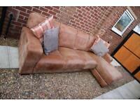 DFS Tan Leather Corner Sofa L Shape Cesar range delivery available