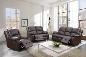 Stunning leather tone recliner sofa set. Three and two seater - bargain at £575