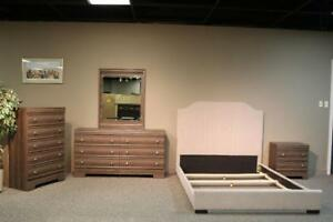 LORD SELKIRK FURNITURE -5PC Bedroom Suite in Brown -Dresser, Mirror, Chest,1 Night Stand and Queen Platform Bed -$849.00