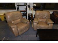 Two leather armchairs (La-Z-Boy / lazy boy style chairs)