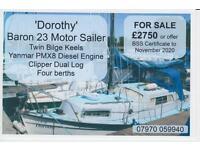 Baron 23 Motor-Sailer, twin bilge keels, Yanmar PMX8 diesel auxiliary engine, Clipper dual log