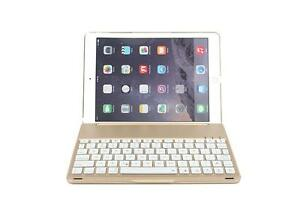 myBitti Ipad Air Aluminium Folio Bluetooth Keyboard Case Cover for Ipad Air Ipad 5 With Backlit Light (ipad air 2 golden