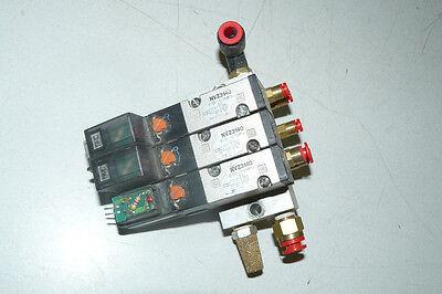Lot Of 3 Smc Solenoid Valves Nvz3140 With Base 24vdc
