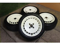 "Genuine Ronal Turbo 15"" Alloy wheels & Tyres 4x100 Civic Clio Corsa MX5 Golf Yaris Micra White"