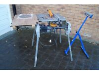 ELU flip table saw with improvised extension extra blades and roller stand
