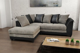 **BRAND NEW** Byron fabric jumbo cord sofas/ corner sofa or 3+2 seater set in grey/black or brown