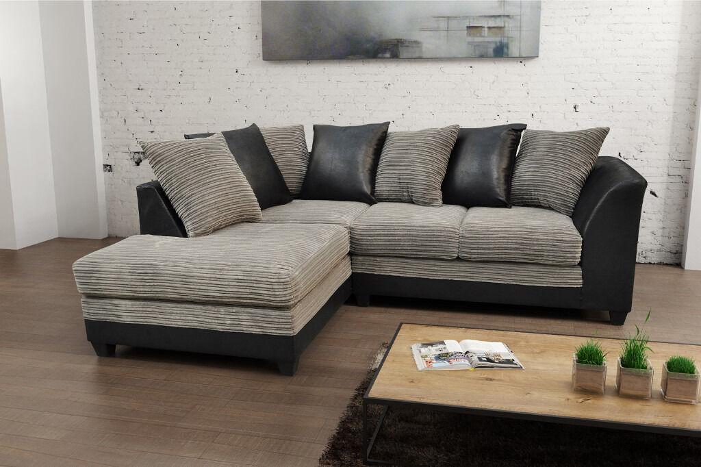 Brand New Byron Fabric Jumbo Cord Sofas Corner Sofa