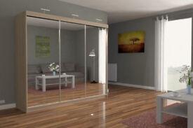 BRAND NEW EXCLUSIVE STYLISH CHICAGO FULL MIRROR 3 DOOR SLIDING BEDROOM WARDROBE