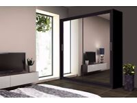 BRANDED HIGH GLOSS CHICAGO 2 DOOR SLIDING WARDROBE WITH FULL MIRROR -EXPRESS DELIVERY