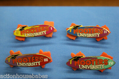 HOOTERS RESTAURANT UNIVERSITY MANAGERS SCHOOL STAFF LAPEL PIN SET I,II,III,IV