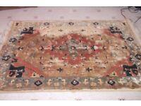 Vintage silk type rug , peach gold colours