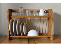 Vintage solid wood plate rack