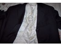 SUIT WITH CREAM SATIN WAISTCOAT AND CRAVAT TIE AND CREAM SHIRT BHS WEDDING OUTFIT
