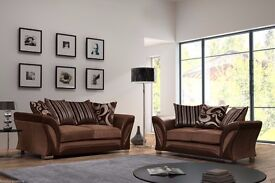 XMAS SALE!! BRAND NEW SHANNON LEATHER & FABRIC 3+2 SEATER SOFA IN BLACK GREY BROWN BEIGE