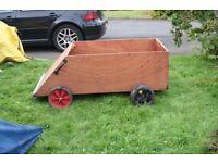Childs wooden go kart trolley box kart go cart