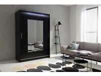 BARGAIN! black Wardrobe kola 6-150 with sliding doors mirror