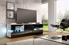 Modern TV Unit 140cm Cabinet Stand White Matt & Black High Gloss