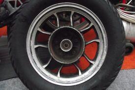 honda vt750 shadow 1983 rear wheel and hub and activating arm.