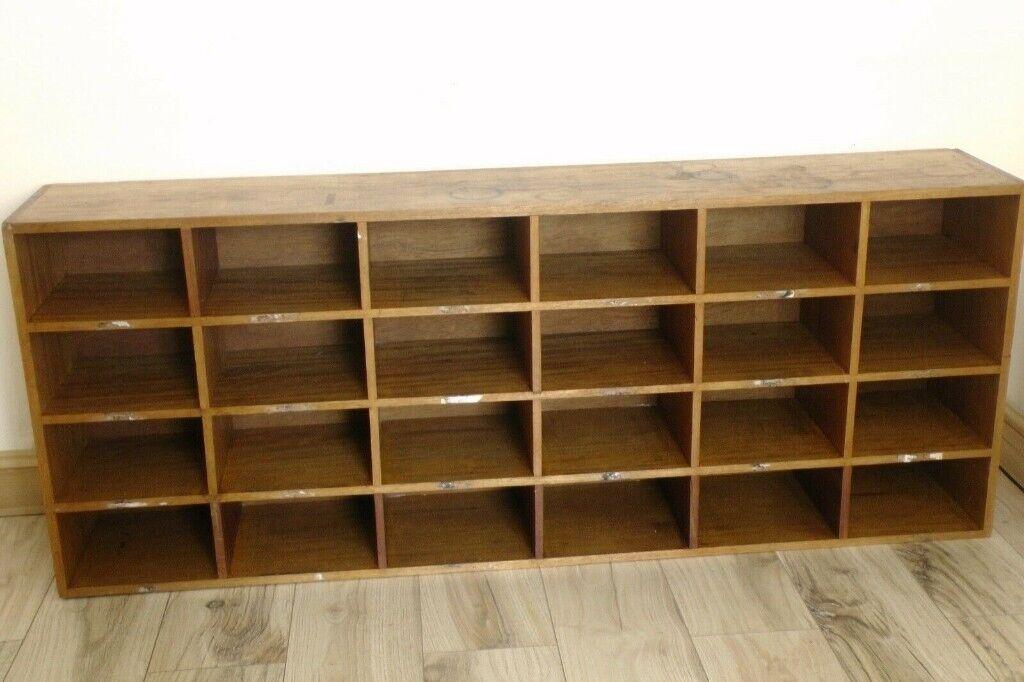 Vintage Post Office Pigeonhole Cabinet Teak Solid Wood ...