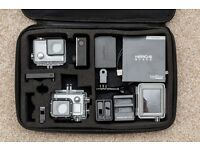 GoPro Hero 4 Black + LCD Bacpac Screen + Dual Charger + Extra Batteries!