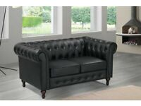 🔵💖🔴LOWEST PRICE IN UK🔵💖CHESTERFIELD PU LEATHER SOFA 2 SEATER-CASH ON DELIVERY-Order Now.