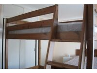 Solid Pine High Sleeper 3ft bed with mattress- SHORT LENGTH