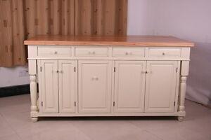 6 ft cream kitchen island solid maple butcher block