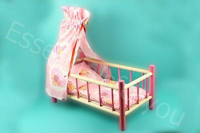 LARGE WOODEN  CANOPY PINK BED COT CRIB TOY Doll Teddy NEW *** SALE 40% OFF***