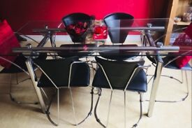 Glass Top Dining Table and 6 Black / Chrome Chairs. FREE delivery in Derby