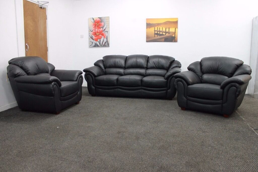 Littlewoods napoli black italian leather three piece suite for Furniture 3 piece suites