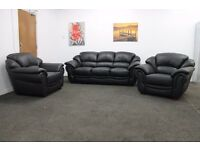 Littlewoods Napoli Black Italian Leather Three Piece Suite 3 Seater Sofa and 2 Armchairs RRP £2800