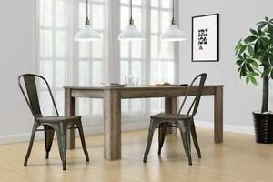 DHP Fusion Metal Dining Chair with Wood Seat, Distressed Metal Finish  NEW ** 5 CORNERS FURNITURE**
