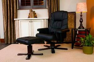 Free Delivery in Saskatoon! Black, Brown or Beige Faux Leather Recliner with Ottoman! Brand New!