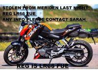 STOLEN :ORANGE KTM DUKE 125 LR66 FUE PLEASE KEEP AN EYE OUT
