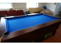 Pool Table-Coin Operated-Slate Bed-7ft x 4ft-VGC-Fully Operational-Supplied with Cues and Cue Rack