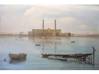 WATER- COLOUR OF OLD POOLE HOLES BAY POWER STATION