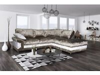 Stunning BRAND NEW brown and mink crushed velvet corner sofa and footstool. can deliver