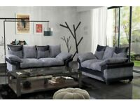 ⭐️🌟✨Shop All You Want⭐️🌟✨DINO JUMBO CORD FABRIC CORNER SOFA SUITE / 3 & 2 SEATER-black and grey