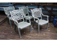 Green Plastic Heavy Duty Garden Chairs x 4
