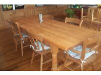 Rustic Farmhouse Solid Pine Kitchen Table & 8 chairs