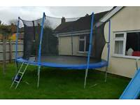 14ft trampoline with enclosure and ladder