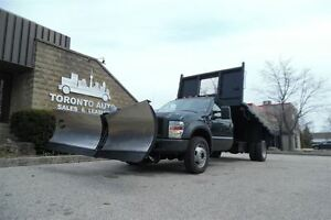 2008 Ford F-550 Dumping flatbed,4X4,stainless steel V-plow.