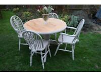 Stunning Solid Pine and Beech Dining Table and Chairs Shabby Chic