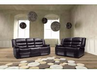 **FREE DELIVERY** ITALIAN BONDED LEATHER 3, 2 AND 1 SEATER RECLINER SOFA SUITES, NEW IN BLACK/BROWN