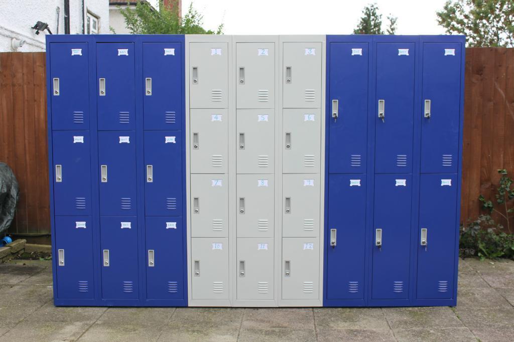 6 9 12 door metal lockers in ultramarine blue or light for 12 door lockers