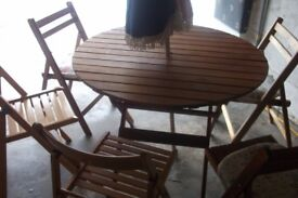 Teak folding Garden table and chairs , folding teak garden table with 5 folding chairs