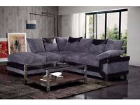 **LARGE CORNER SOFA+FOOT STOOL JUMBO COrd FABRIC EXTRA PADDED CORNER STYLE OR 3+2 WITH ALL CUSHIONS