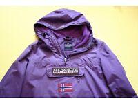 napapijri rainforest women's purple winter pullover weatherproof jacket L