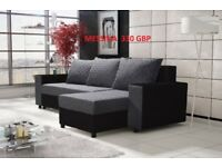 Corner sofa bed sofa bed UK STOCK 1-5 DAY DELIVERYMessina(grey-black)
