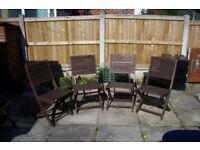 Garden / patio folding wooden chairs X 4